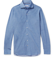 Loro Piana Albert Slim-Fit Mélange Cotton and Cashmere-Blend Shirt