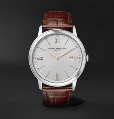 Baume & Mercier - Classima Quartz 42mm Stainless Steel and Croc-Effect Leather Watch