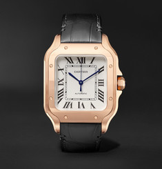 Cartier - Santos Automatic 35.1mm Rose Gold Interchangeable Alligator and Leather Watch
