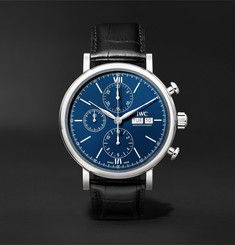 IWC SCHAFFHAUSEN - Portofino 150 Years Limited Edition Chronograph 42mm Lacquered-Dial Stainless Steel and Alligator Watch