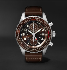 IWC SCHAFFHAUSEN Pilot's Timezoner Limited Edition Chronograph 46mm Stainless Steel and Leather Watch