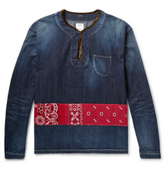 visvim Velvet-Trimmed Panelled Denim Shirt