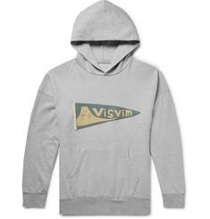 비즈빔 Visvim Jumbo Logo-Appliqued Melange Loopback Cotton-Jersey Hoodie,Gray