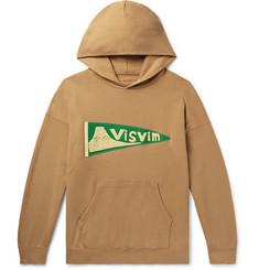 비즈빔 Visvim Jumbo Logo-Appliqued Loopback Cotton-Jersey Hoodie,Camel