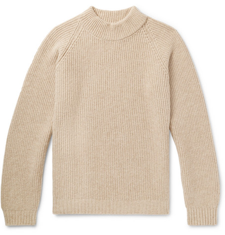 Funnel Neck Ribbed Wool Sweater by Visvim