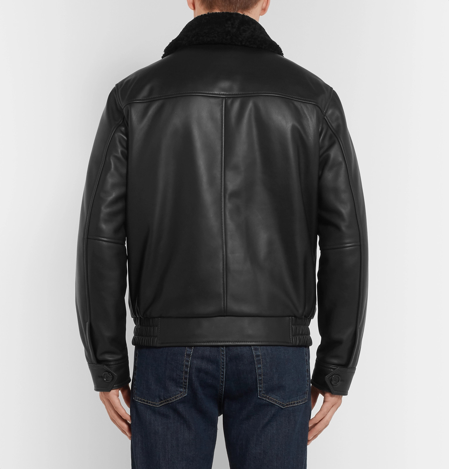 Black Tod's Jacket Leather trimmed Aviator Shearling qwBIgZ