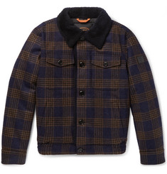 Tod's - Shearling-Lined Checked Wool Bomber Jacket