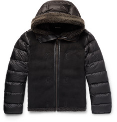 Ten C Grosgrain-Trimmed Shearling and Quilted Nylon Hooded Down Jacket Liner