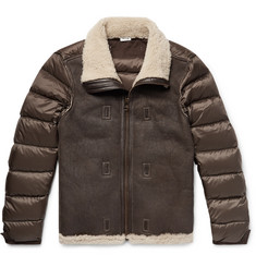 Ten C - Grosgrain-Trimmed Shearling and Quilted Nylon Down Jacket Liner
