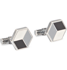 Bottega Veneta Enamelled Sterling Silver Cufflinks