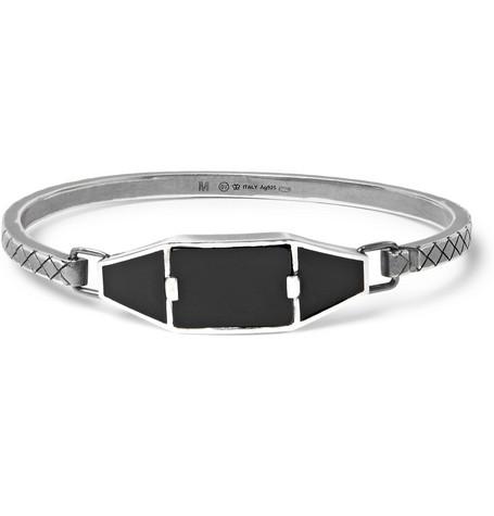 Bottega Veneta – Oxidised Sterling Silver, Enamel And Onyx Bracelet – Silver