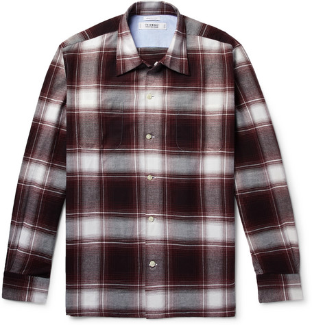 FREEMANS SPORTING CLUB Camp-Collar Checked Cotton-Flannel Shirt in Burgundy