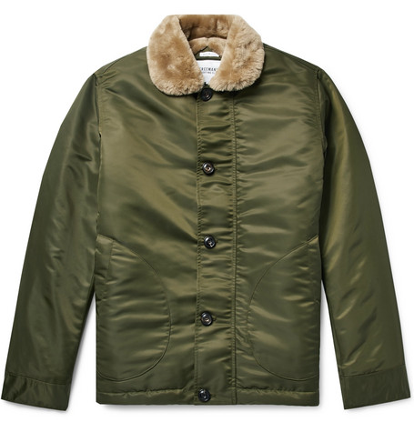 FREEMANS SPORTING CLUB Shearling-Lined Nylon Jacket in Green