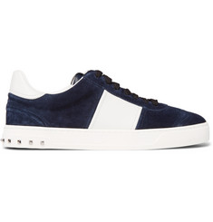 Valentino Valentino Garavani Flycrew Leather-Panelled Suede Sneakers