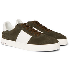 Valentino - Valentino Garavani Flycrew Leather-Panelled Suede Sneakers