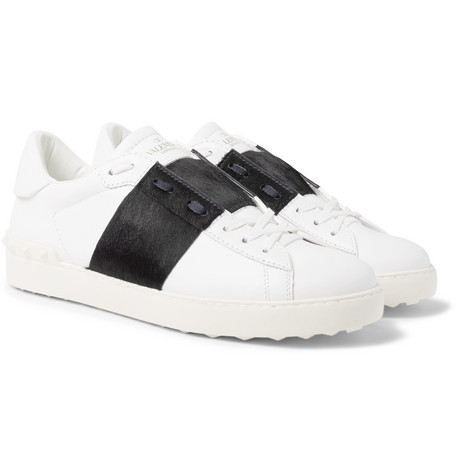 Valentino Garavani Open Striped Leather And Calf Hair Sneakers by Valentino