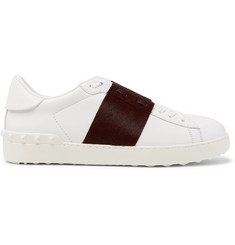 Valentino Valentino Garavani Open Striped Leather and Calf Hair Sneakers