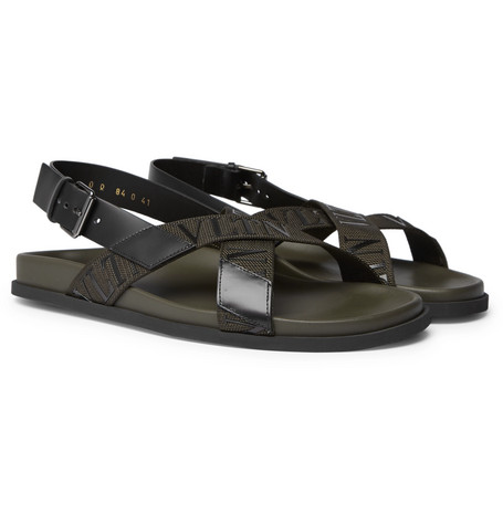 Valentino Garavani Logo Detailed Leather And Webbing Sandals by Valentino