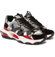 Valentino - Valentino Garavani Bounce Leather, Suede and Mesh Sneakers
