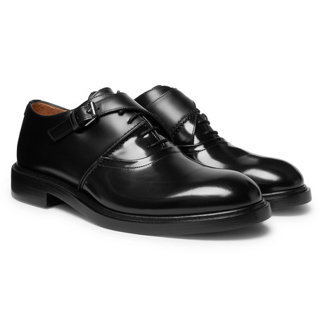 Valentino Garavani Buckle-detailed Leather Derby Shoes