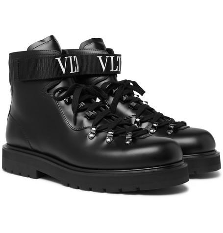 Valentino – Valentino Garavani Rockstud Polished-leather Boots – Black