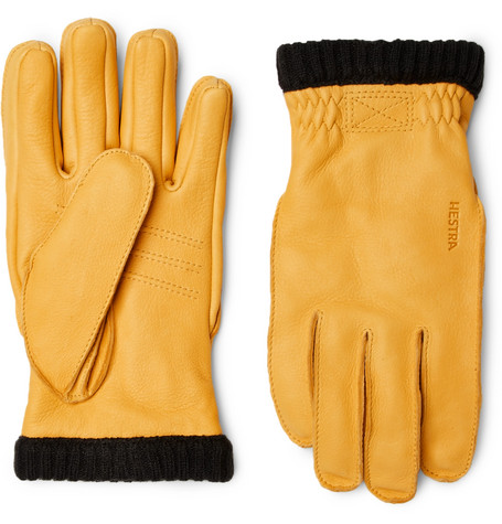 Primaloft Fleece Lined Full Grain Leather Gloves by Hestra