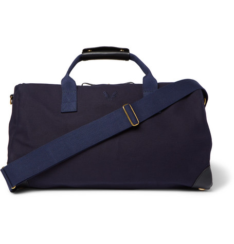 BENNETT WINCH Commuter Leather-Trimmed Cotton-Canvas Holdall