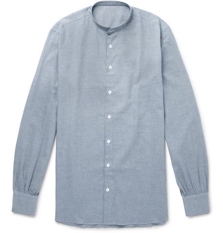 ANDERSON & SHEPPARD Grandad-Collar Puppytooth Cotton-Flannel Shirt