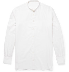 Anderson & Sheppard Slim-Fit Grandad-Collar Cotton and Cashmere-Blend Twill Shirt