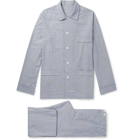 Prince Of Wales Checked Brushed Cotton-twill Pyjama Set