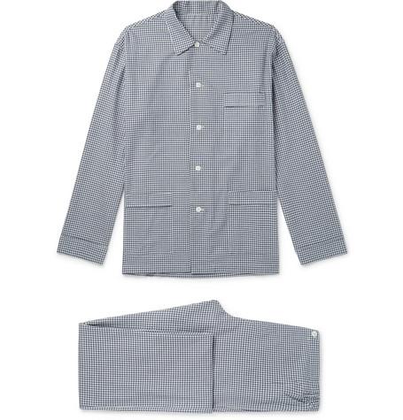 ANDERSON & SHEPPARD Gingham Brushed Cotton-Twill Pyjama Set