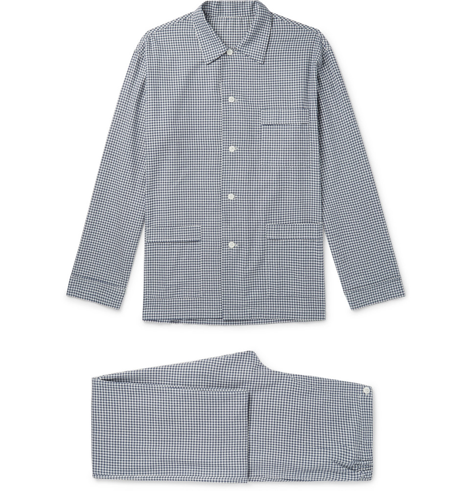 Gingham Brushed Cotton-twill Pyjama Set - Navy