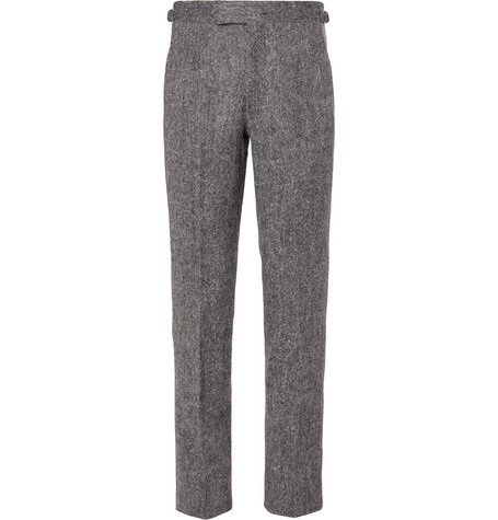 ANDERSON & SHEPPARD Mélange Wool Trousers
