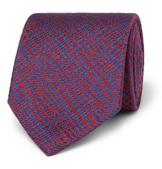 Charvet 7.5 Prince of Wales Checked Wool and Silk-Blend Jacquard Tie