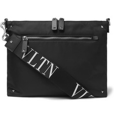 Valentino Valentino Garavani Leather-Trimmed Shell Messenger Bag