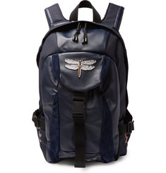 Valentino Valentino Garavani Appliquéd Leather, Suede and Canvas Backpack