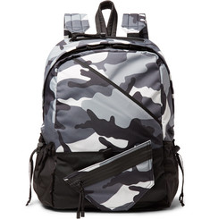 Valentino Valentino Garavani Shell-Trimmed Camouflage-Print Canvas Backpack