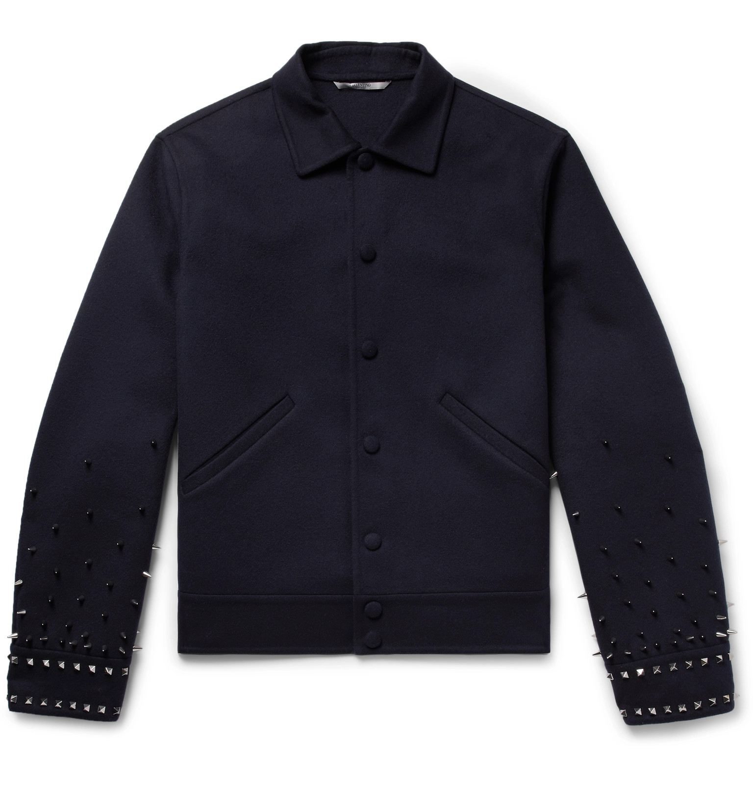 Cashmere Wool Valentino And Virgin Jacket Studded blend Navy qgfAAa