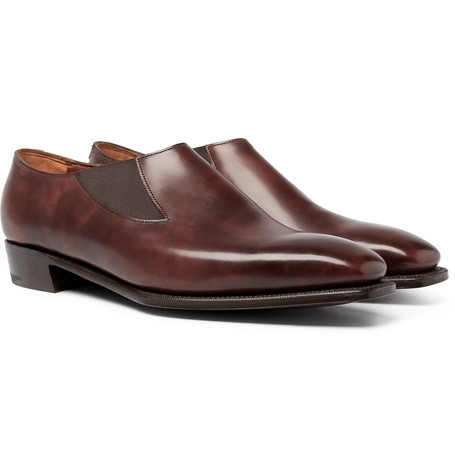 Bulow Burnished-leather Loafers - Brown