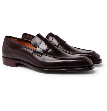 George Horween Shell Cordovan Leather Penny Loafers - Burgundy