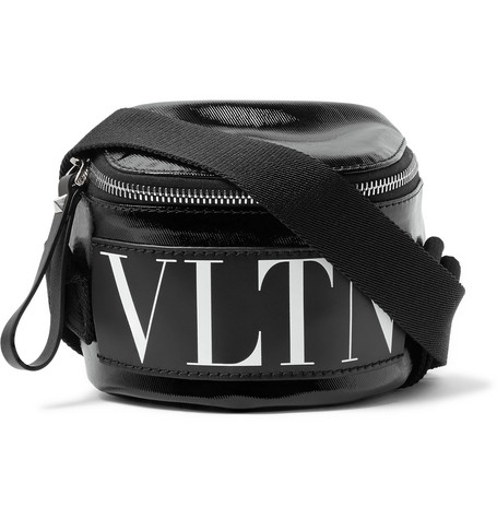 Valentino Garavani Logo Print Coated Twill Belt Bag by Valentino