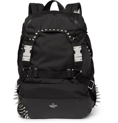 Valentino Valentino Garavani Studded Leather-Trimmed Nylon Backpack