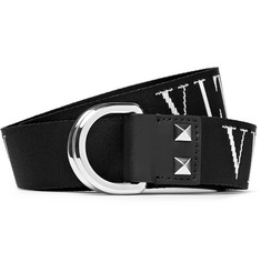 Valentino 3cm Leather-Trimmed Logo-Detailed Canvas Belt