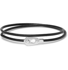 Miansai Centra Leather and Sterling Silver Wrap Bracelet
