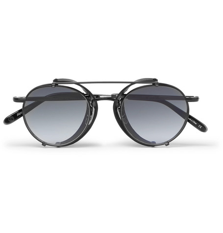 GARRETT LEIGHT CALIFORNIA OPTICAL Wilson M 49 Round-Frame Acetate And Metal Sunglasses With Clip-On Leather Shields in Black