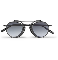 Garrett Leight California Optical Wilson M 49 Round-Frame Acetate and Metal Sunglasses with Clip-On Leather Shields
