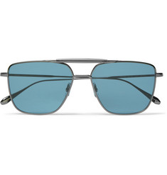 Garrett Leight California Optical Convoy 56 Aviator-Style Gunmetal-Tone Sunglasses