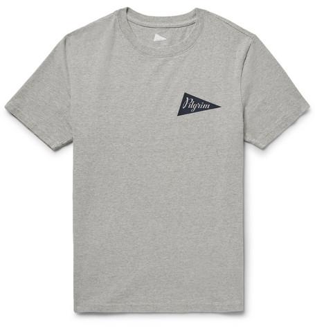 PILGRIM SURF + SUPPLY Logo-Print Mélange Cotton-Jersey T-Shirt in Gray