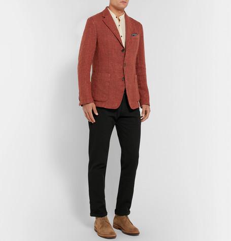 Vente Fiable Red Slim-fit Unstructured Mélange Linen-blend Blazer - RedBarena Jeu De Jeu Vente Ebay cOIpGCLr1X