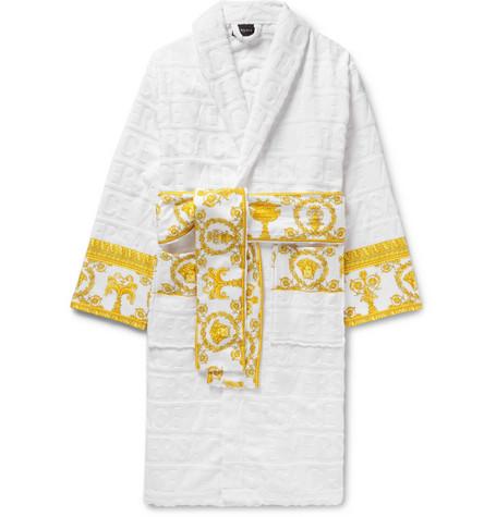 Versace – Satin-trimmed Logo-jacquard Cotton-terry Robe – White